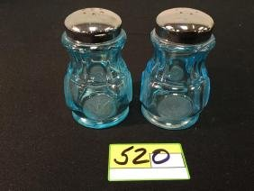 """VINTAGE FOSTORIA COIN GLASS """"BLUE"""" ONE PAIR Of SALT AND"""