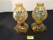 """VINTAGE PAIR OF FOSTORIA COIN GLASS """"AMBER"""" BEDROOM OIL"""
