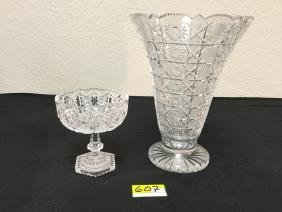 "VINTAGE LEAD CRYSTAL CUT GLASS 5 1/4"" COMPOTE FOOTED"