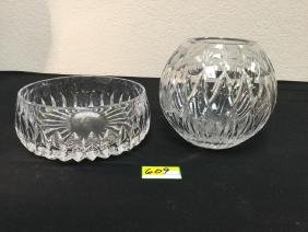 VINTAGE BRILLIANT CUT LEAD GLASS BOWL AND CANDLE GLOBE.