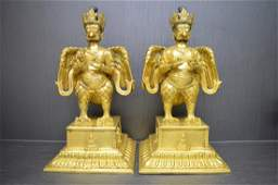 A Pair of Gilt Bronze Eagle Figure Statue