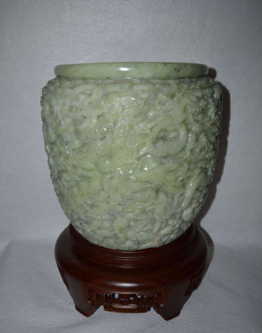 Well Carved Hetianyu Jade Dragon Jar