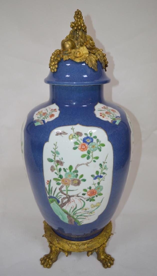 Bronze Mounted Famille Rose Porcelain General Jar