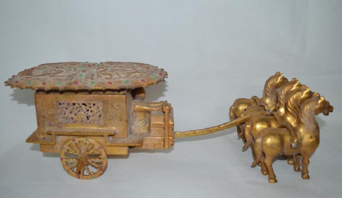 Bronze Gilt Horse Drawn Cart Statue