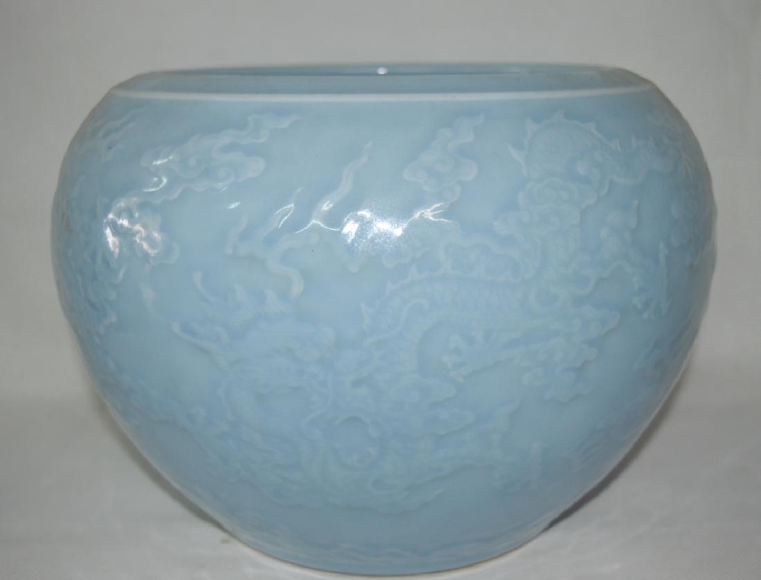 A Carved Blue-Glazed Porcelain Vat