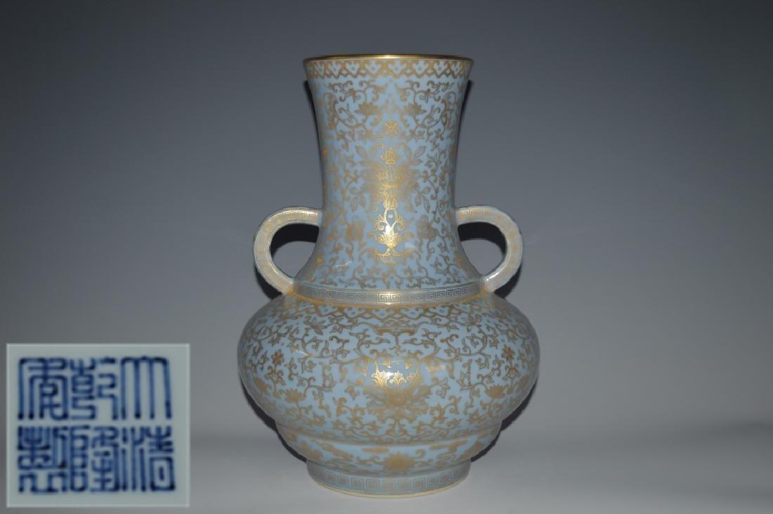 Chinese Blue Glazed Double Ear Vase