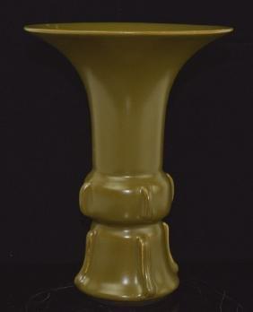 Chinese Tea Dust Glazed 'Gu' Shaped Vase