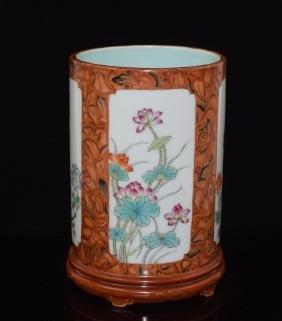 Chinese Floral Porcelain Brush Pot