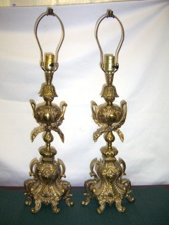 4: Pair 19th C American Brass Table Lamps