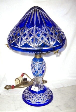 5: Early Cobalt Blue Flashed Crystal Boudoir Lamp