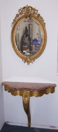 9: Marble & Gilt Wood Console Table & Mirror