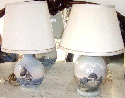 22: 2 Converted Royal Copenhagen Vases/Table Lamps
