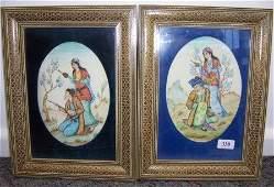 330: Pair Indo-Persian Gouache Scenes