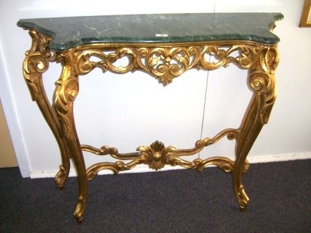 1: Gilt Wood Console Table with Green Marble Top