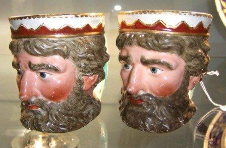 5: Pair c.1790-1800 Derby Mugs of Neptune
