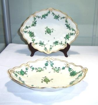 8: c.1770-1780 Pair Chelsea Derby Diamond Shaped Desser
