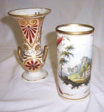 13: c.1810-1820 Derby Cylindrical Vase & Derby Urn Shap
