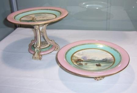 15: Early Victorian Porcelain Comport & Footed Bowl