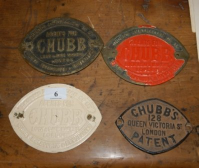 6: 4 Early Chubb Metal Safe Label Plates