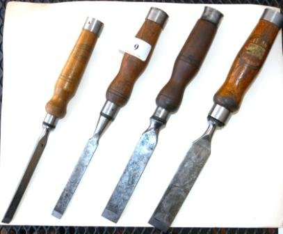 9: Good Group of 4 Early 20th C Woodworking Chisels.
