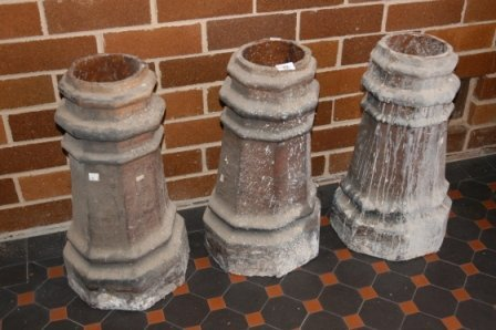 22: 3 19th C Stoneware Chimney Pots