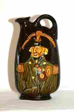 "1: Royal Doulton Kingsware Dewars Whisky Flask. ""Nelson"