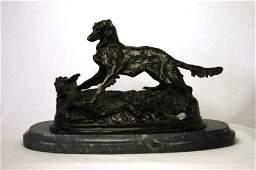438: Bronze Irish Setter Statue After P J Mene. On grey