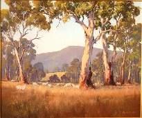 1105: BEST, Kevin (b.1932) Sheep in Australian Bush Lan