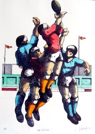 """1002A: WILLEBRANT, James (b.1950) """"The Footballers"""""""