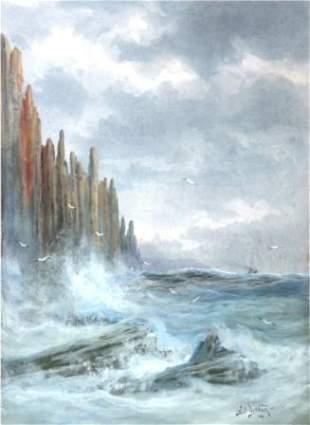 DISTON, James Swinton (1857-1940) Coastal Rocks