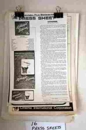 16 Cinema Press Sheets c.1970's & 80's. 'The Sting,'