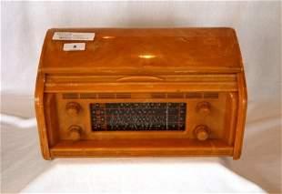 KRIESLER Tambour Front Orange Bakelite Mantel Radio.