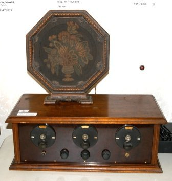 22: Mid 1920's Wood Cased Four Valve Radio Receiver & S