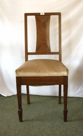 53: c.1930 Edward HILL Art Deco Chair. Sycamore, with i