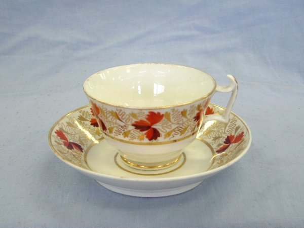 1002: Derby Cup & Saucer. Circa 1800. Autumnal leaves &