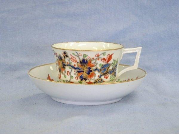 1004: Derby Tea Cup & Saucer c.1800. Japanese style flo