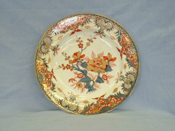 1007: c.1800 Derby Imari Style Plate. Red crown mark to