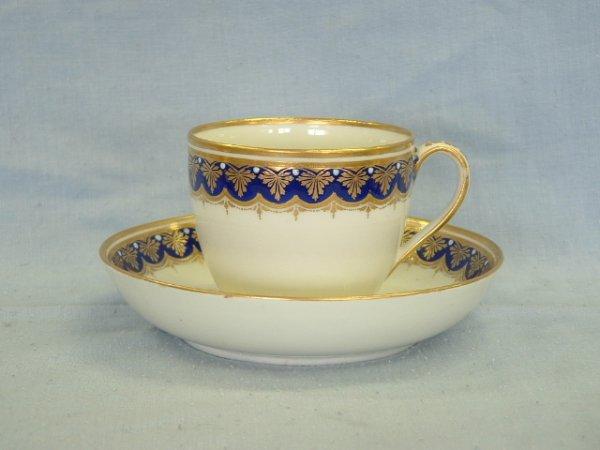 1009: c.1780-1800 Derby Cup & Saucer. Gilt & cobalt gar