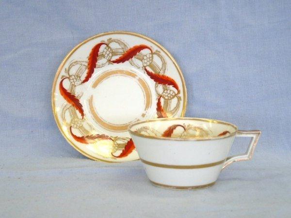 1011: c.1780 Derby Tea Cup & Saucer. Gilt & hand painte