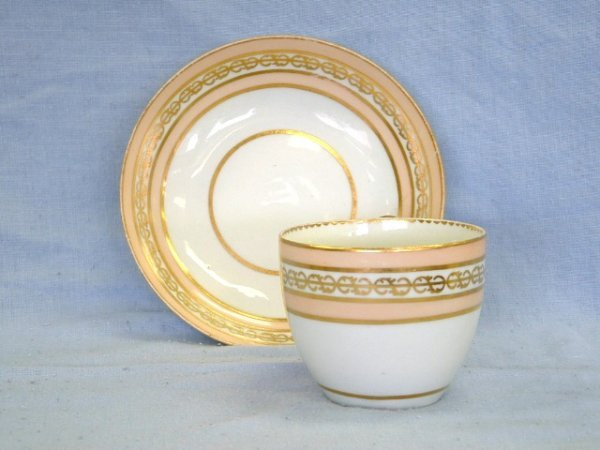 1016:  c.1800 Derby Cup & Saucer Gilt & apricot bands w
