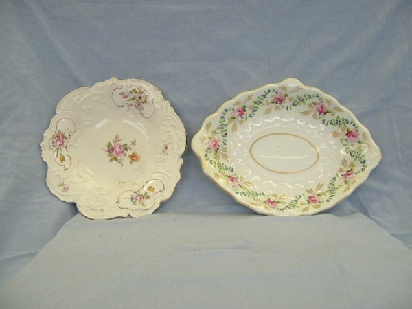 1022:  2 Various Derby Floral Decorated Dishes. Inc. di