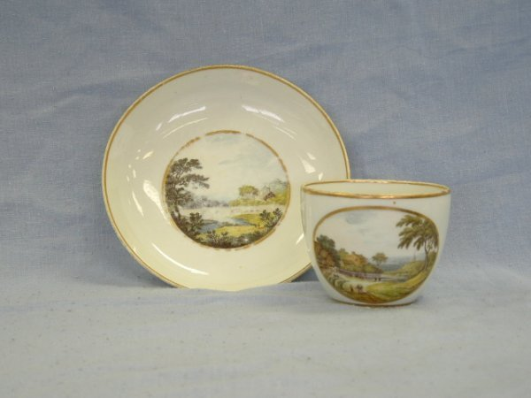 1023: Derby Topographical Tea Cup & Saucer c.1780-1800.