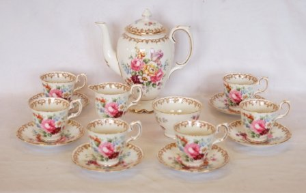 1548A: Crown Staffordshire Fine Bone China Coffee Set o