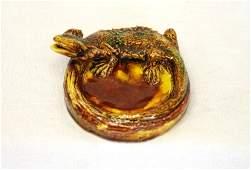 1623: Castle Harris Lizard Mtd Pottery Bowl. 1 or 2 tin