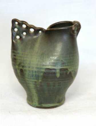 1698 Bluegreen Pottery Vase By John Crawford Nz H