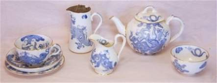 1798: Royal Worcester Chinese Blue & White Dragon Part