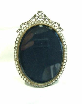 2: Brass Photo Frame. Cut clear stone surround & bow su