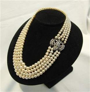 Graduated Cultured Pearl Necklace with Diamond & Eme