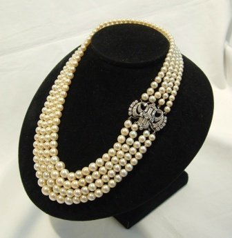 3: Graduated Cultured Pearl Necklace with Diamond & Eme