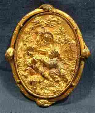 Victorian Rolled Gold Relief Brooch. Scene depicts 3